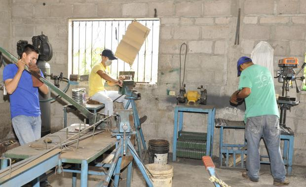 In the factory where plants and parrillas are made.