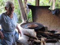 She has been trying to cook a meal on this kind of a stove for a long time.
