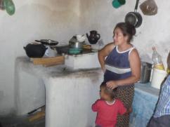 La mujer y los niños pasan más tiempo cerca de la estufa. Ella nos dijo que pinta las paredes de su cocina junto a su estufa una vez a la semana.